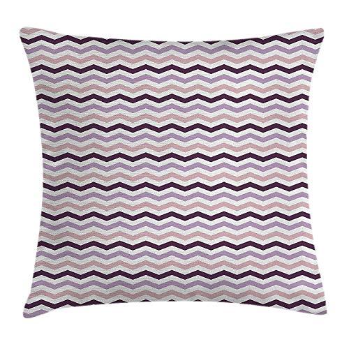 Butlerame Funda de Almohada de Tiro de Berenjena, Imagen Inspirada en la Ola del océano de mar en Tonos púrpuras, 18 x 18 Pulgadas, Rosa pálido, Morado y Lila