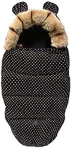 Drizzle Mantas envolventes Interior Franela al aire libre anti-patada saco de dormir del bebé impermeable cálido recién nacido niña 0-36 meses edredón del bebé (Black)