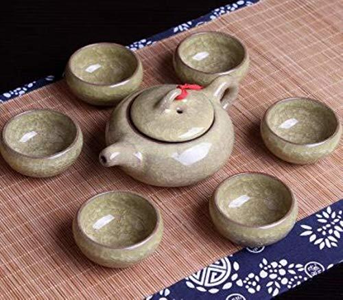 Juego de té chino Kungfu de porcelana para romper el hielo, tazas de té (7 unidades), color gris y amarillo