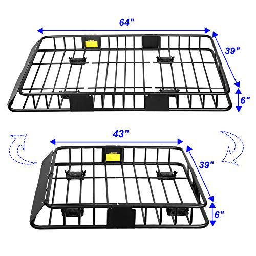 Roof Rack Cargo Basket, Universal Car Top Carrier Rack Adjustable Length 43/64 inches Anti-Rust Car Top Luggage Holder Carrier Basket 150lb with Removable Extension Kit Wind Fairing