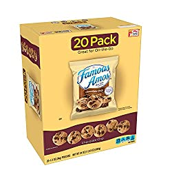 Famous Amos Cookies, Bite Size Chocolate Chip, Single Serve, 24 oz Box (20 Pack)