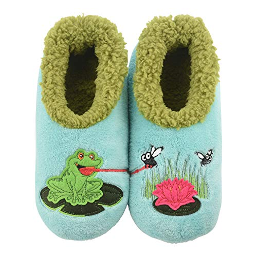 Snoozies Womens Slippers - Womens House Slipper Socks - Frog & Flies Pairables - Large