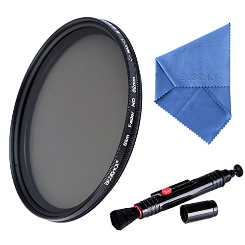 Beschoi - 77MM ND Filtro Ajustable Variable ND2 a ND400 Filtro para Lente para Nikon Canon DSLR Cámaras (Incluye Ultra Delgado Filtro ND 77MM + Paño de Limpieza Microfibra + Pluma de Limpieza)