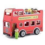 New Classic Toys City Tour Bus with 9 Play Figures, Multicolore, Set di Autobus Città, 11970