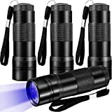 Ganeen 4 Pieces UV Black Light Flashlight Mini UV Flashlight Handheld Blacklight 12 LED 395nm Mini Light Torch Detector for Pet Urine Bed Bug Scorpion Hotel Inspection Dry Stain and Dye Detector
