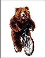 【自転車 熊 クマ】 ポストカード・はがき(白背景)