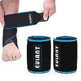 EULANT Knöchelbandage, 2pcs Sprunggelenkbandage, Einstellbare Fußgelenkbandage mit Anti-Rutsch Silikon Streifen, Hochelastisch Fußbandage für