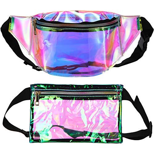 2 Pieces Holographic Neon Transparent Fanny Pack PVC Iridescent Shiny Rave Festival Waist Belt Bag Sport Bag Travel Wallet Pouch for Women