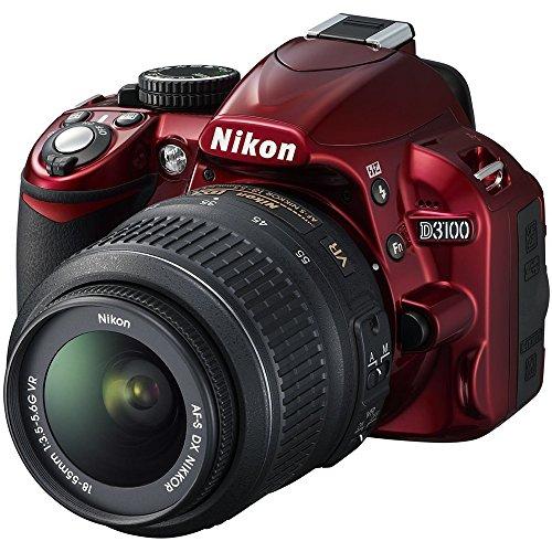 Nikon D3100 Digital SLR Camera with 18-55mm f/3.5-5.6 Auto Focus-S Nikkor Zoom Lens (Red) - (Renewed)