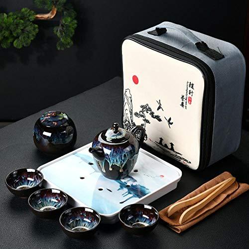 Alarmclocker8B Servizio da tè da Viaggio,teiera e Tazza da tè in Ceramica Smaltata,Servizio da tè in Porcellana con zuppiera,bollitore,Cerimonia per Bere Il tè-2