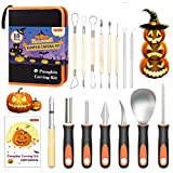 Halloween Pumpkin Carving Kit, Shuttle Art 15 PCS Professional Heavy Duty Stainless Steel Pumpkin Carving Tools with Carrying Case for Kids Adults Sculpting Jack-O-Lanterns