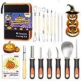 Halloween Pumpkin Carving Kit, Shuttle Art 15 PCS Professional Heavy Duty Stainless Steel Pumpkin...
