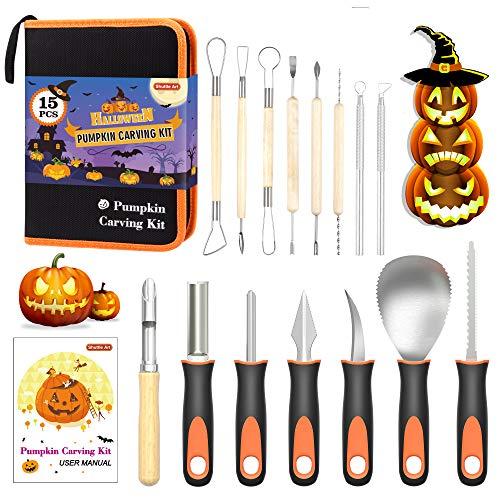 Halloween Pumpkin Carving Kit, Shuttle Art 15 PCS...