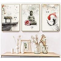 LMAGGG ブッダキャンバス壁画| 仏像HDプリント写真家の装飾リビングルーム用のモダンなモジュラーポスター-40x60cmx3フレームなし