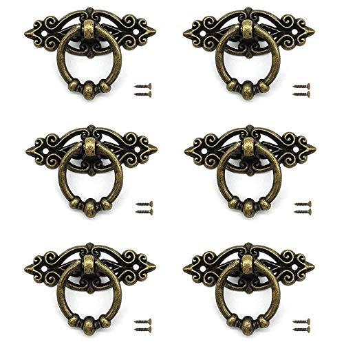 JINXM 6 Stück Vintage Moebelgriff,Alte Tür Schrank Knöpfe,Möbelgriffe Messing Vintage Türgriffe mit Schrauben Alte Griffe für Kommode, für Kommode,Antiken Weichholz Schrank