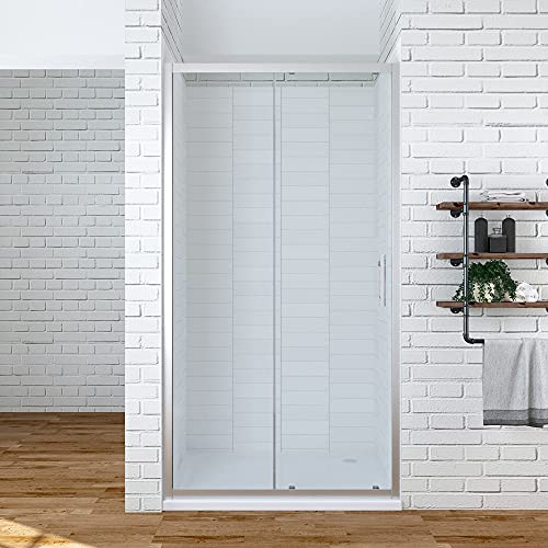 Duschschiebetür Duschabtrennung Duschwand Glas Duschtür Schiebetür in Nische Nischenschiebetür Dusche 100 x 185 cm ESG-Sicherheitsglas Klarglas   AQUABATOS