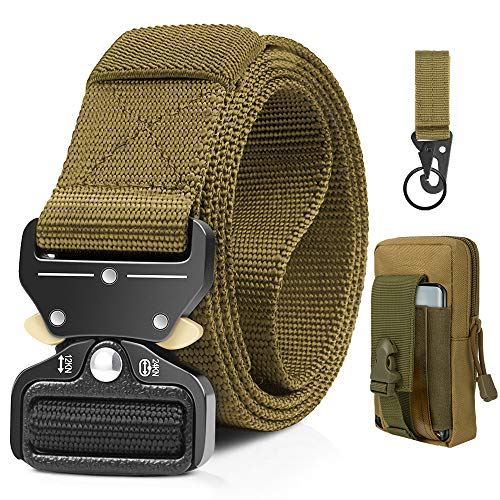 EnzeroTools Tactical Belt, Military Belt Rigger 1.5 Inches Nylon Webbing Belt with Heavy-Duty Quick-Release Buckle, Gift with Molle Cellphone Holster & Hook (Brown)