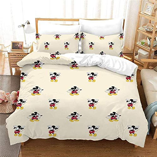 ZJJIAM Mickey and Minnie Children's Duvet Cover, 3D Printed Disney Mickey Mouse Bedding Set, Comfortable with Zip, Boy, Girl (8, 200 cm x 200 cm)