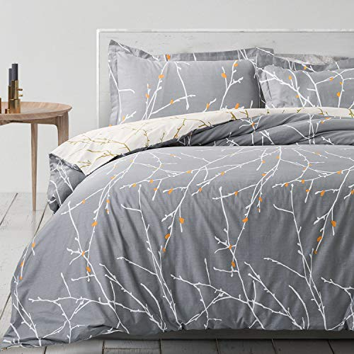 Bedsure 100% Cotton Duvet Cover Set Double Size - 3 pcs Tree Branch Bedding Set with 2 Pillowcases, Grey, 200x200cm