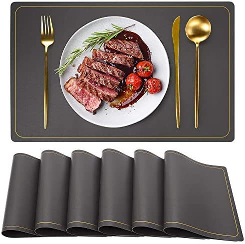Grey Placemats PU Faux Leather Placemats Wipeable Waterproof Non Slip Placemats Table Mats Set product image