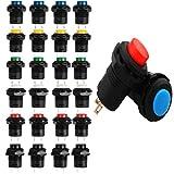 RUNCCI-YUN 24pcs interruptor pulsador 12mm,Interruptor de botón de Bloqueo,redondos,(3A 125V AC/1.5A 250V AC)
