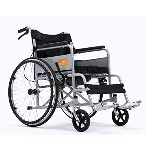 OH Silla de ruedas plegable y liviana Conducción médica, silla de ruedas de acero engrosada con in
