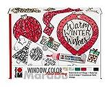 Marabu 040600000125 - Window Color fun & fancy - Peinture transparente à base d'eau pour surfaces lisses - 6 x 25 ml de peinture A3 avec 44 motifs et film A4