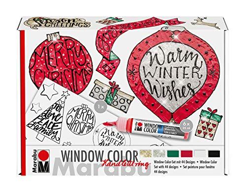 Marabu 0406000000125 - Window Color fun & fancy, Handlettering Xmas, Transparentfarbe auf Wasserbasis, für glatte Oberflächen, 6 x 25 ml Farbe, Malvorlage A3 mit 44 Motiven und Folie A4