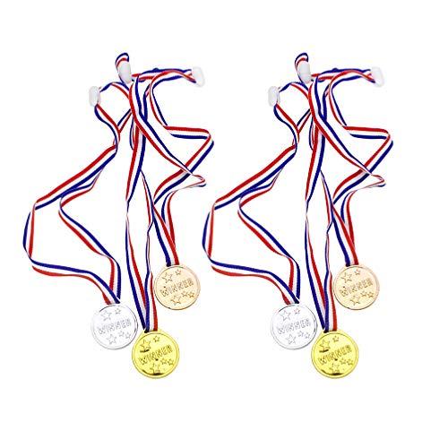 STOBOK 36 Pezzi Medaglie Premio in Plastica per Bambini Medaglie Premio Oro per Bambini con Cordino per Competizioni Sportive Abbinamenti Bomboniere
