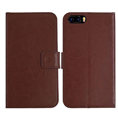 TienJueShi Brown Flip Book-Style Brief Leder Tasche Schutz Hulle Handy Hülle Abdeckung Fall Wallet Cover Etui Skin Fur Bluboo S1 5.5 inch
