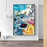 SADHAF Acuarela abstracta Lienzo pintado sobre arte mural Cartel de pared y pintura impresa Decoración para el hogar A1 30x40cm