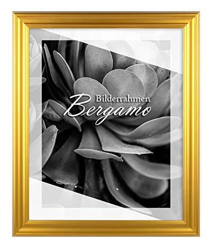BIRAPA Bilderrahmen Bergamo 60x60 cm in Gold Schlicht aus MDF Holz mit Antireflex Kunstglas Scheibe