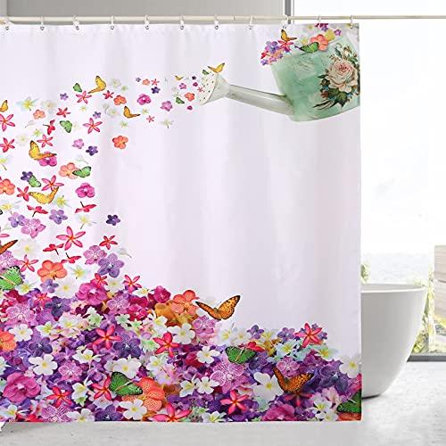 DECMAY Blumen Duschvorhang, Modern Bunter Stil, Blumen & Schmetterling Muster, mit 12 Haken, Wasserdicht, Schimmel Resistent & Farbfest, 180x180 cm, Mehrfarbig