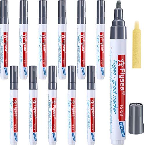 12 Piezas de Bolígrafo de Lechada Pluma de Reparación para Azulejos Pared Suelo (Gris Oscuro)