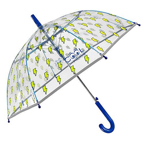 Transparenter Regenschirm Blitze für Kinder - Kinderschirm Automatik Winddicht aus Glasfaser - Reflektierende Details - Blauer Schirm Junge von 4 bis 6 Jahren - Durchmesser 74 cm - Perletti Cool Kids