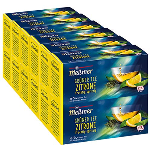 Meßmer Grüner Tee Zitrone spritzig-frisch 25 Teebeutel - 12 Pack