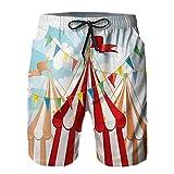 YZBEDSET Bañador De para Hombre Pantalones Playa Shorts, Rayas de Circo Que Brillan por el Sol a través del Cielo Nublado Tema de Artes escénicas Tradicionales Secado Rápido Ligero Baño Cortos L