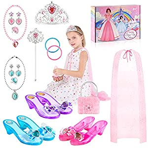 Princess Dress Up Shoes and Jewelry Boutique, Princess Toys with 3 Pairs Heel Shoes, Princess Cape, Tiara, Bracelets,Purse, Pretend Play Princess Accessories for Little Girls Toddlers Aged 3 4 5 6