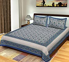 Bhagwatiudyog Cotton King Size Block Print Double Bedsheet with Pillow Cover, Blue