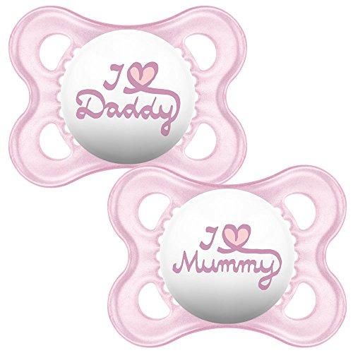 MAM Start 0+ Soother, Baby Fopspeen Met Sterilisatie- En Transportbox, Pak Van 2, I Love Daddy & I Love Daddy – Roze (Geassorteerde Designs)