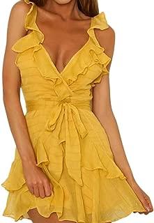 Jojckmen Women Girl Solid Ruffles Dress Sling Backless Bohemian Beach Party Dress