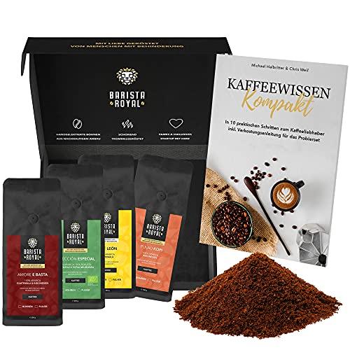 Premium Kaffee Geschenk im Probierset mit Guide gemahlen | Kaffee Geschenk für Männer und Frauen | Mit Liebe geröstet von Menschen mit Behinderung | 4x250g Kaffee gemahlen im Geschenkset