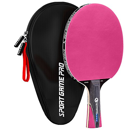 Sport Game Pro Ping Pong Paddle JT-700 mit Killer Spin + Tasche, Rose