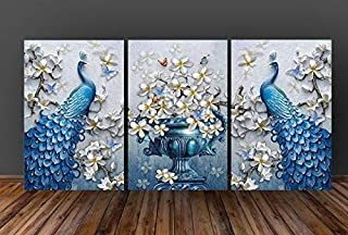 SND UV Textured Peacock Set of 3 Modern Art Print MDF Frame Painting for Living Room Wall for Home Decoration (18 X 12 inc...