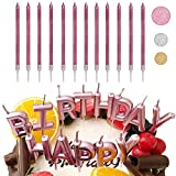 Set di candele per torta di compleanno, confezione da 10 candele lunghe e sottili e 1 candela dell'alfabeto di buon compleanno, candele per decorazioni per torte di nozze (Oro rosa)