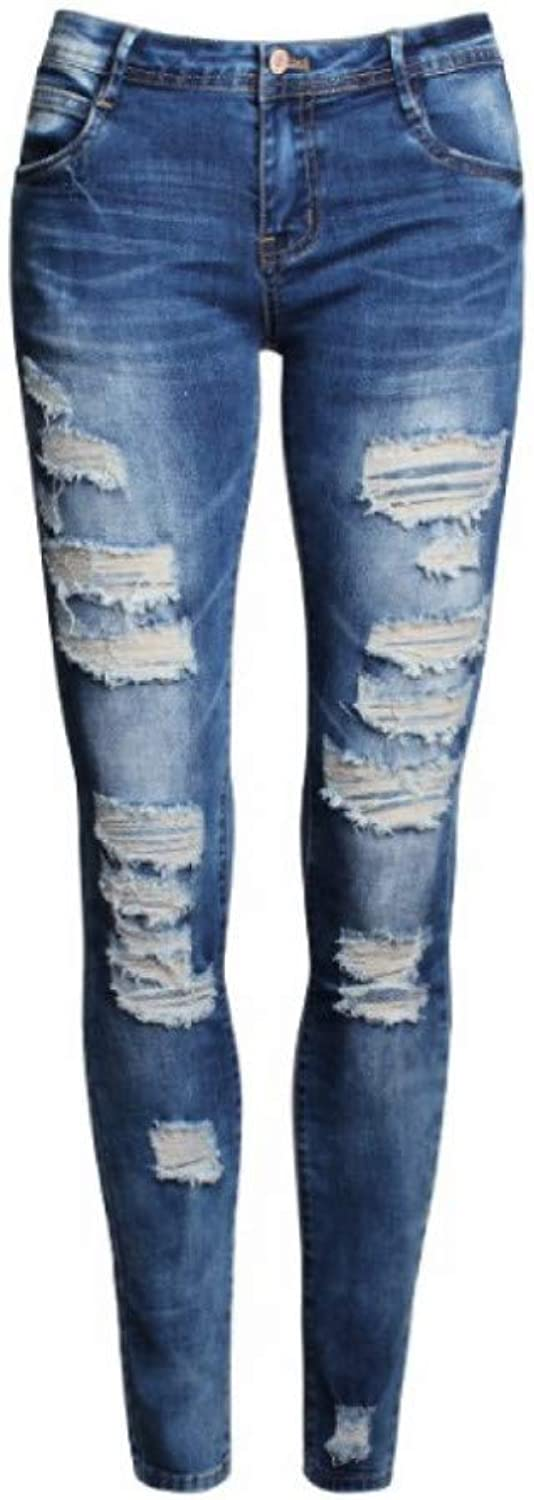 FSDFASS Jeans Low Waist Distressed Jeans New Ladies Cotton Denim Pants Stretch Womens Ripped Skinny Denim Jeans for Female