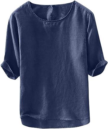 Shirts Tops Blouse Palalibin Fashion Shirt for Men Short Sleeve Mens Cotton Linen Solid Color Short Sleeve T