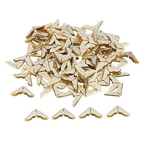 Demiawaking, 100 Stück Metall-Buchecken / Eckenschutz für Scrapbooks, Alben, Menüs, Notizbücher, Ordner usw. gold