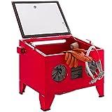 AREBOS Cabina de chorro de arena Gabinete de arenado | Rojo | 90L | Acero | 125 PSI