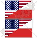 USA Vereinigte Staaten von Amerika und POLEN, Amerikanisch und Polnische Flagge, Fahne 100mm Auto & Motorrad Aufkleber, x2 Vinyl Stickers